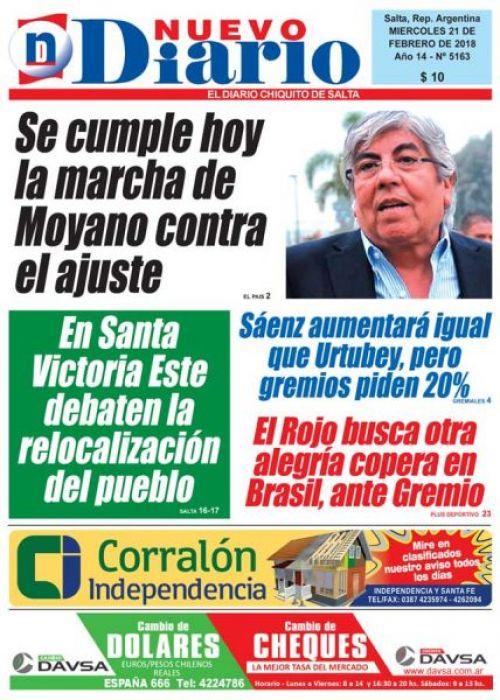 Tapa del 21/02/2018 Nuevo Diario de Salta