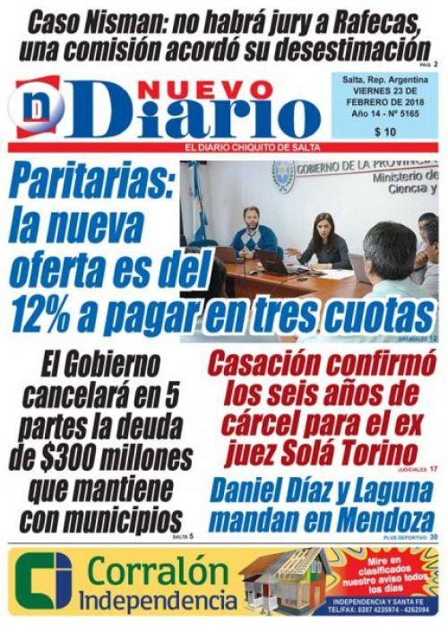 Tapa del 23/02/2018 Nuevo Diario de Salta
