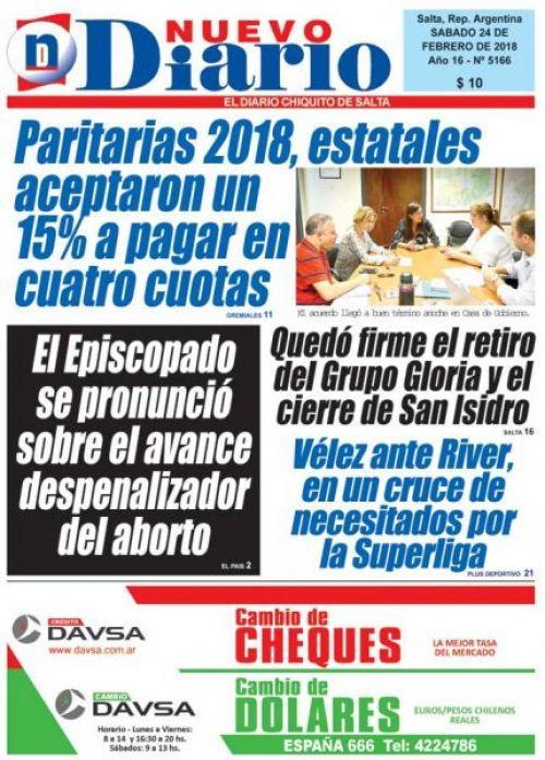 Tapa del 24/02/2018 Nuevo Diario de Salta