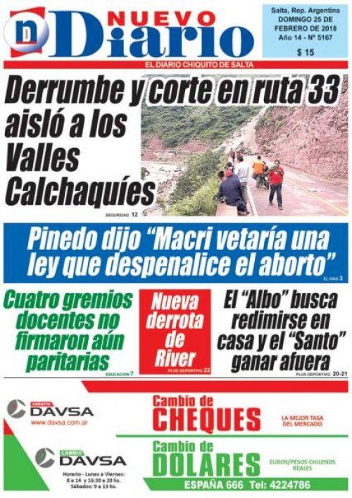 Tapa del 25/02/2018 Nuevo Diario de Salta