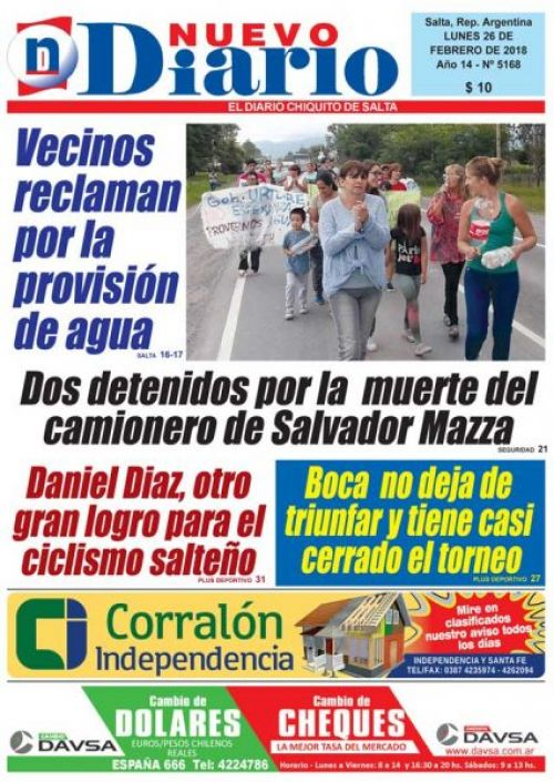 Tapa del 26/02/2018 Nuevo Diario de Salta