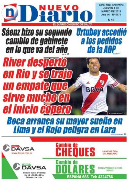 Tapa del 01/03/2018 Nuevo Diario de Salta