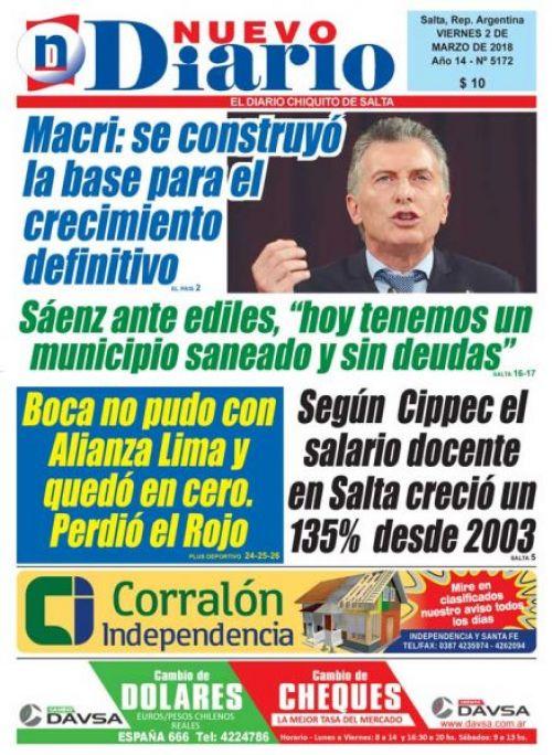 Tapa del 02/03/2018 Nuevo Diario de Salta