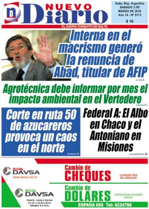Tapa del 03/03/2018 Nuevo Diario de Salta