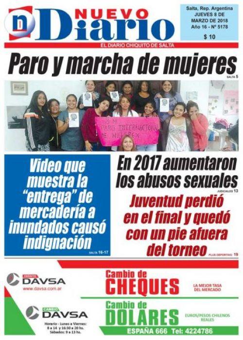 Tapa del 08/03/2018 Nuevo Diario de Salta