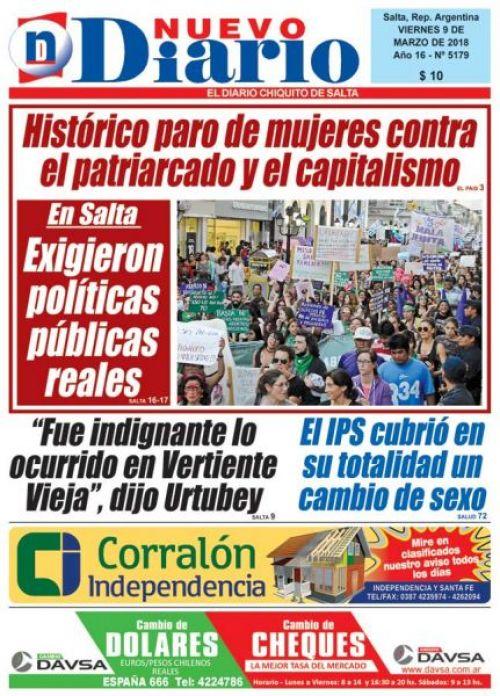 Tapa del 09/03/2018 Nuevo Diario de Salta