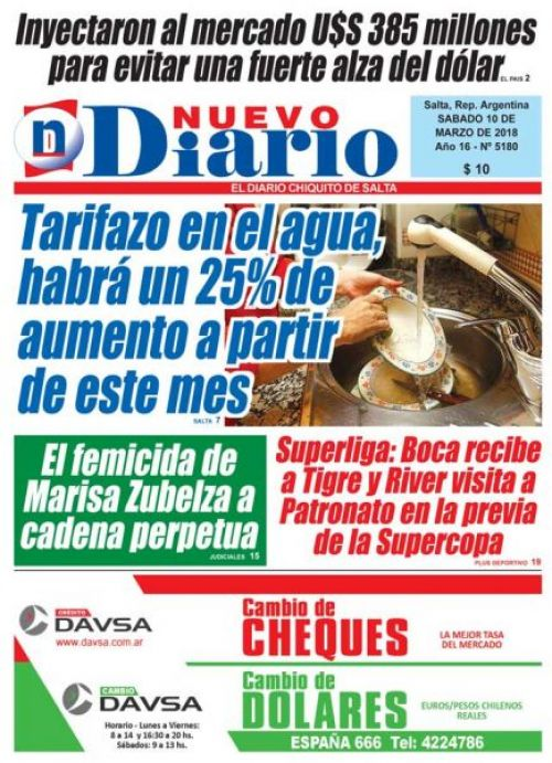 Tapa del 10/03/2018 Nuevo Diario de Salta