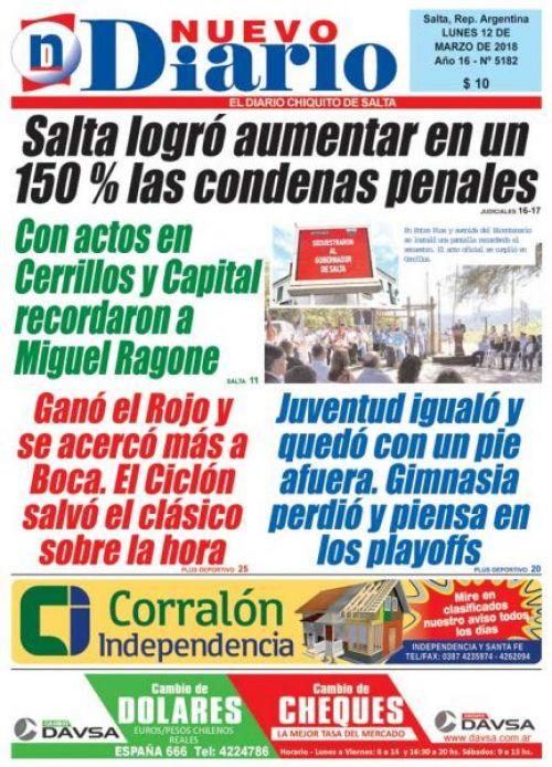 Tapa del 12/03/2018 Nuevo Diario de Salta