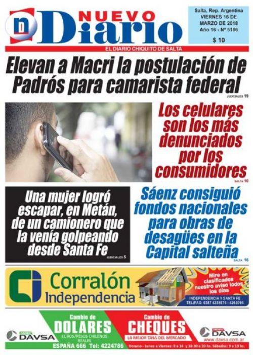 Tapa del 16/03/2018 Nuevo Diario de Salta
