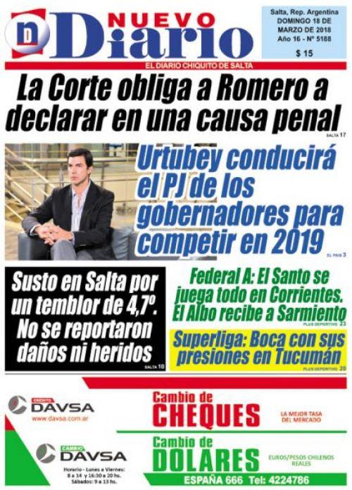 Tapa del 18/03/2018 Nuevo Diario de Salta