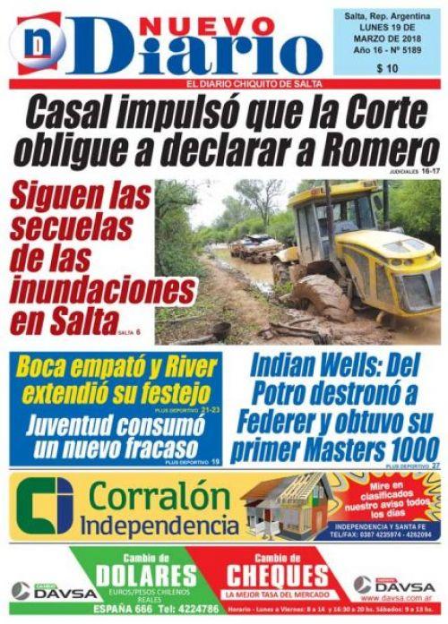Tapa del 19/03/2018 Nuevo Diario de Salta