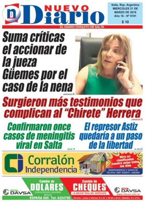 Tapa del 21/03/2018 Nuevo Diario de Salta