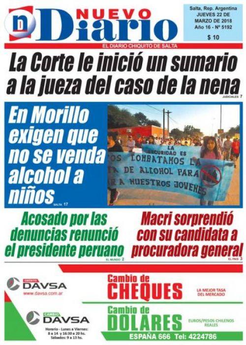 Tapa del 22/03/2018 Nuevo Diario de Salta