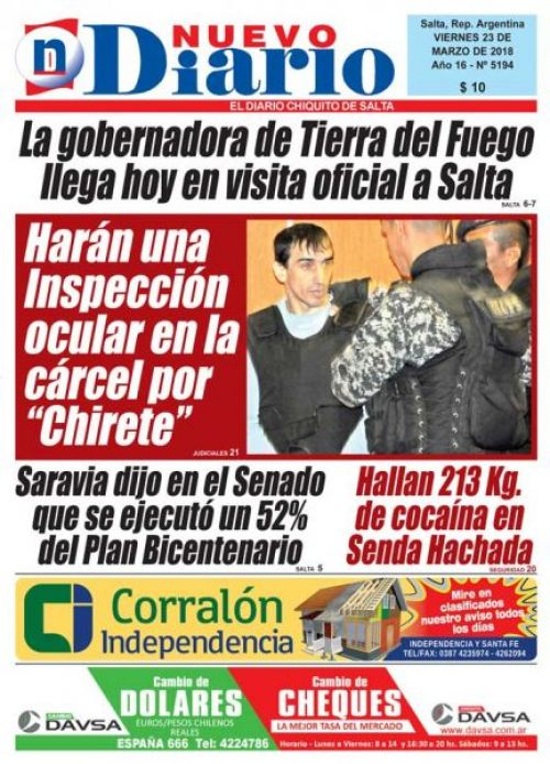 Tapa del 23/03/2018 Nuevo Diario de Salta