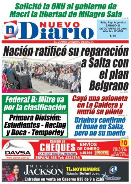 Tapa del 29/10/2016 Nuevo Diario de Salta