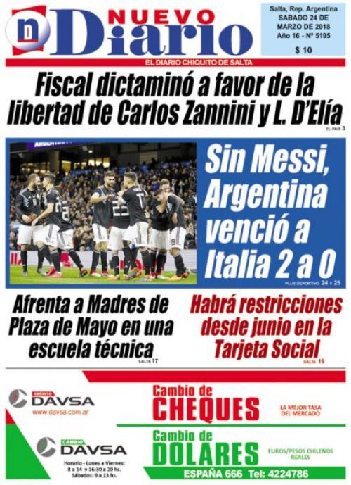Tapa del 24/03/2018 Nuevo Diario de Salta