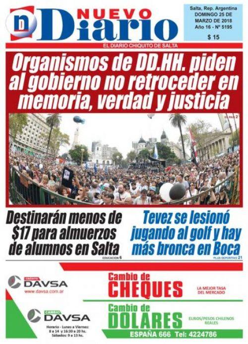 Tapa del 25/03/2018 Nuevo Diario de Salta