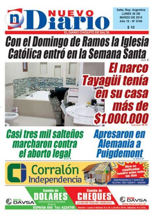 Tapa del 26/03/2018 Nuevo Diario de Salta