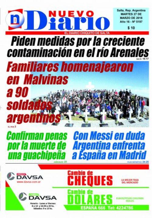 Tapa del 27/03/2018 Nuevo Diario de Salta