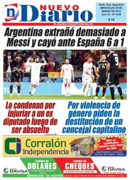 Tapa del 28/03/2018 Nuevo Diario de Salta
