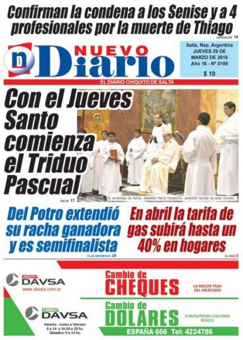 Tapa del 29/03/2018 Nuevo Diario de Salta