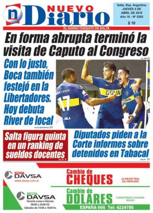 Tapa del 05/04/2018 Nuevo Diario de Salta