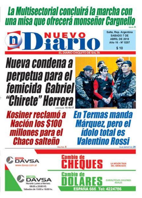 Tapa del 07/04/2018 Nuevo Diario de Salta