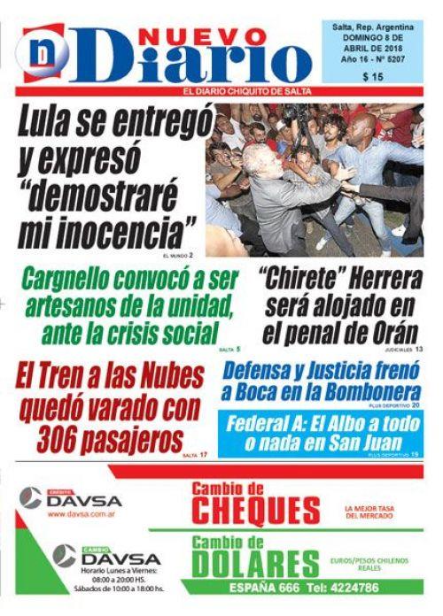 Tapa del 08/04/2018 Nuevo Diario de Salta
