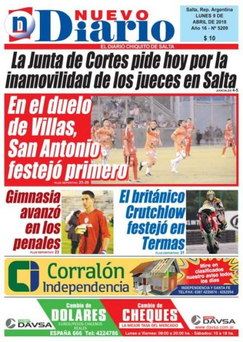 Tapa del 09/04/2018 Nuevo Diario de Salta