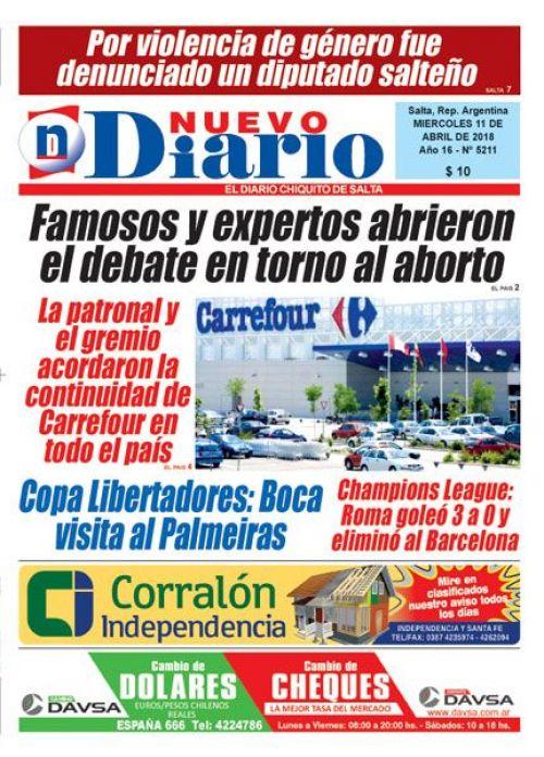 Tapa del 11/04/2018 Nuevo Diario de Salta