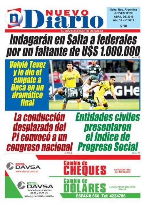 Tapa del 12/04/2018 Nuevo Diario de Salta
