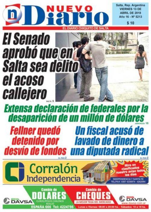 Tapa del 13/04/2018 Nuevo Diario de Salta
