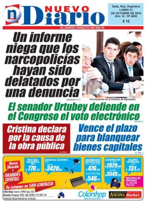 Tapa del 31/10/2016 Nuevo Diario de Salta