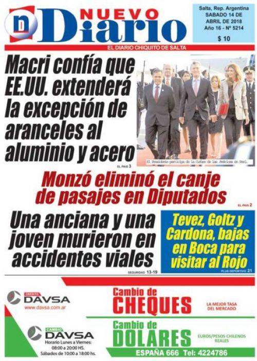 Tapa del 14/04/2018 Nuevo Diario de Salta