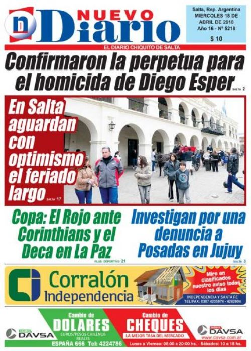 Tapa del 18/04/2018 Nuevo Diario de Salta