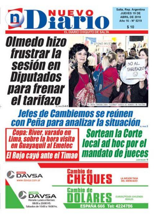 Tapa del 19/04/2018 Nuevo Diario de Salta