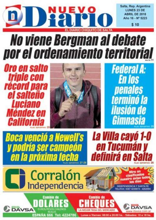 Tapa del 23/04/2018 Nuevo Diario de Salta