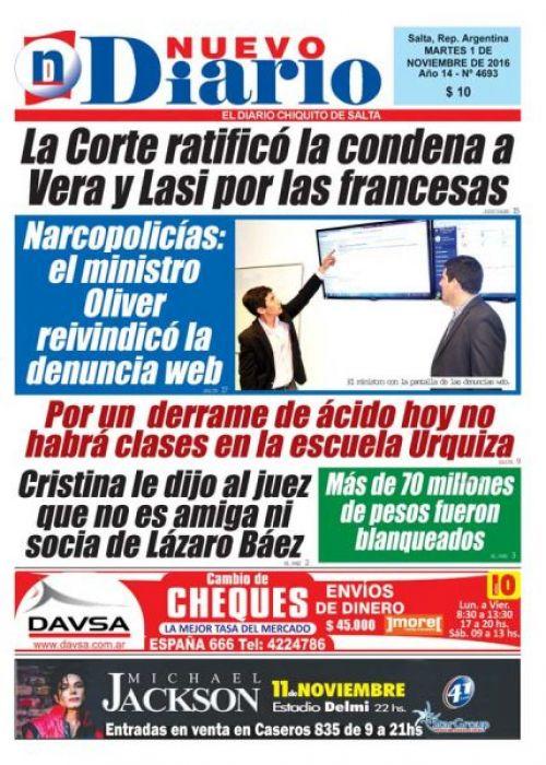 Tapa del 01/11/2016 Nuevo Diario de Salta