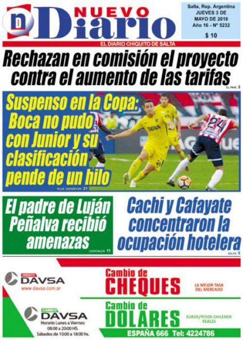Tapa del 03/05/2018 Nuevo Diario de Salta