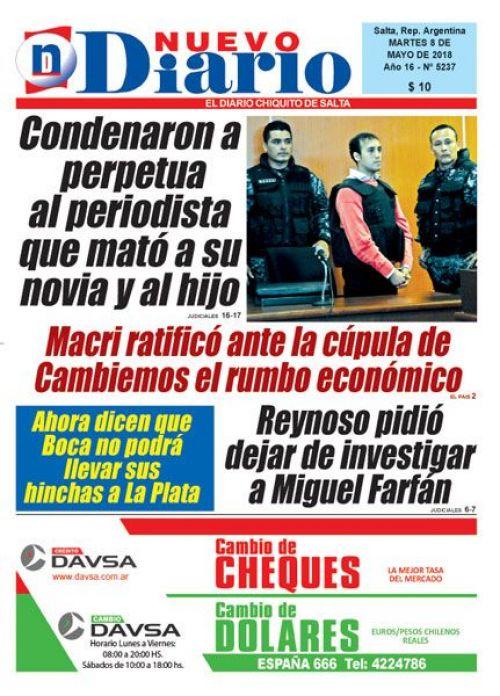 Tapa del 08/05/2018 Nuevo Diario de Salta