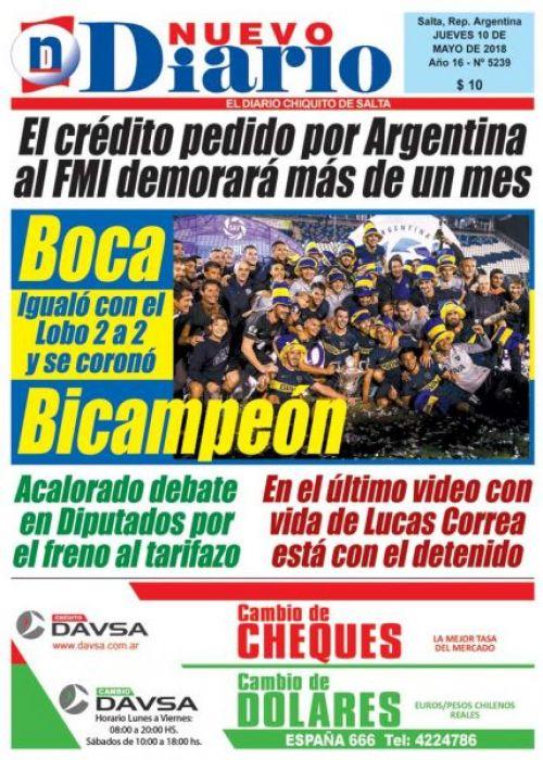 Tapa del 10/05/2018 Nuevo Diario de Salta