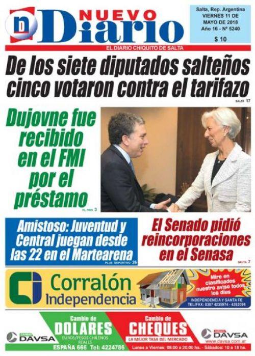 Tapa del 11/05/2018 Nuevo Diario de Salta