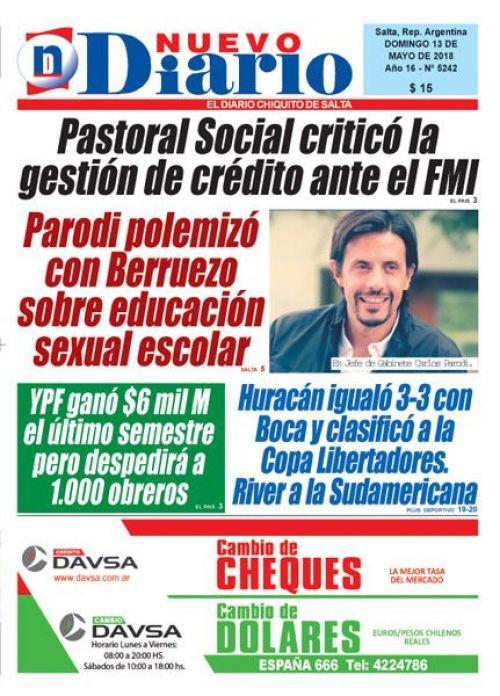 Tapa del 13/05/2018 Nuevo Diario de Salta