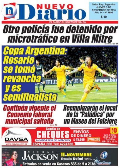 Tapa del 03/11/2016 Nuevo Diario de Salta
