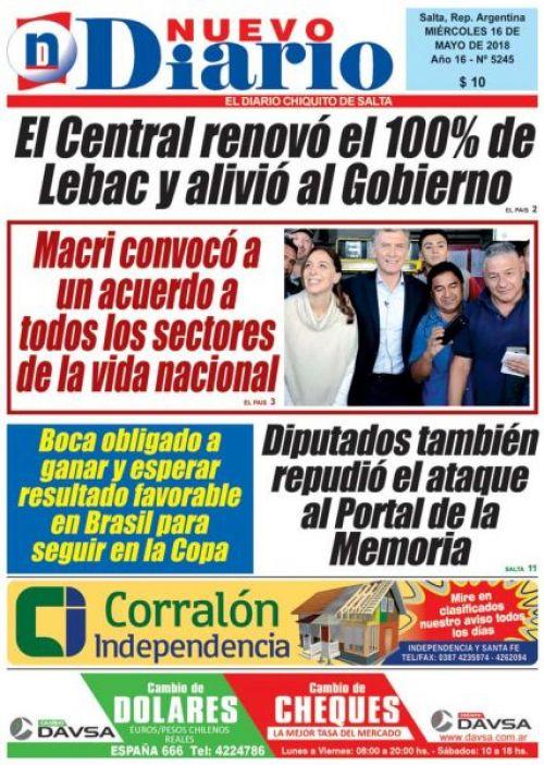 Tapa del 16/05/2018 Nuevo Diario de Salta
