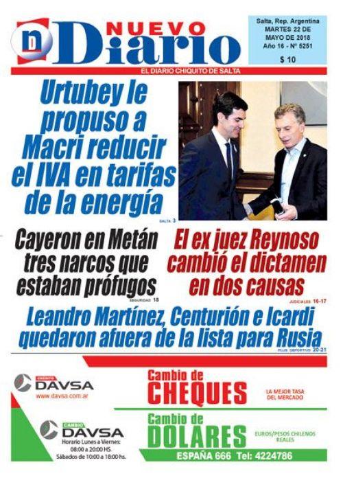 Tapa del 22/05/2018 Nuevo Diario de Salta