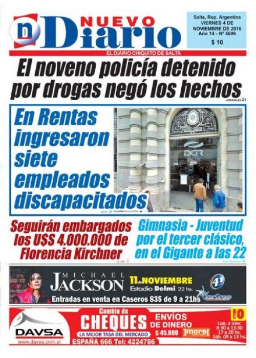 Tapa del 04/11/2016 Nuevo Diario de Salta