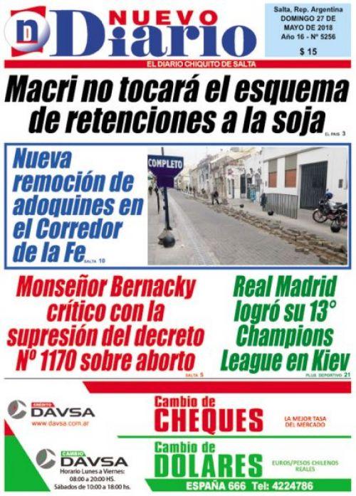 Tapa del 27/05/2018 Nuevo Diario de Salta