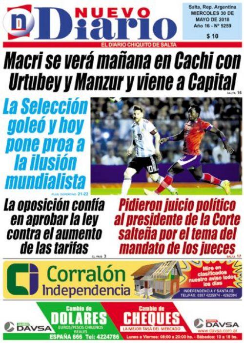 Tapa del 30/05/2018 Nuevo Diario de Salta