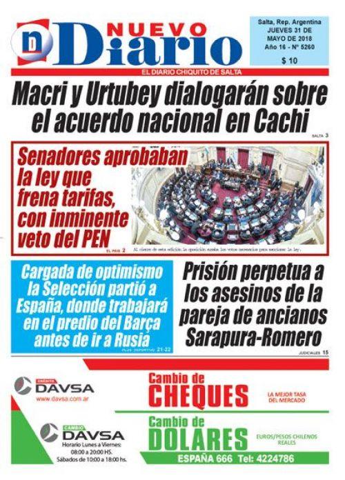 Tapa del 31/05/2018 Nuevo Diario de Salta